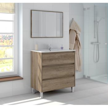 Composizione bagno Dakota da 80 cm con mobile sottolavabo colore Nordik, specchio e lavabo