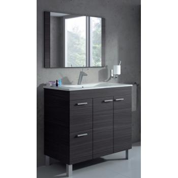 Mobile bagno a terra Aktivia 80 cm grigio cenere con specchio