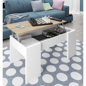 Tavolino 100x50 cm Bianco lucido e rovere chiaro con parte superiore alzabile