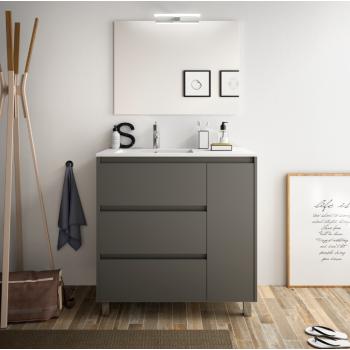 Mobile bagno a terra 85 cm in legno grigio opaco con lavabo in porcellana