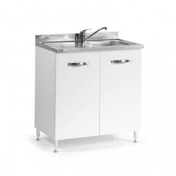 Base sottolavello cucina 80x50xH85 in legno con lavello a vasca singola