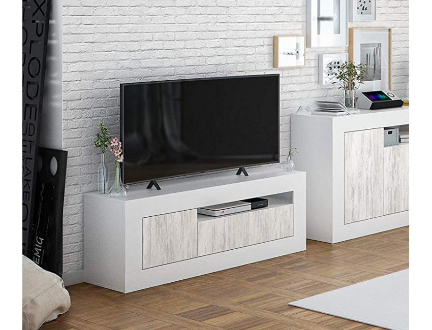 Mobile Soggiorno Porta Tv 139 Cm Bianco Opaco Ed Anticato Con 2 Ante Colore Bianco Abitare